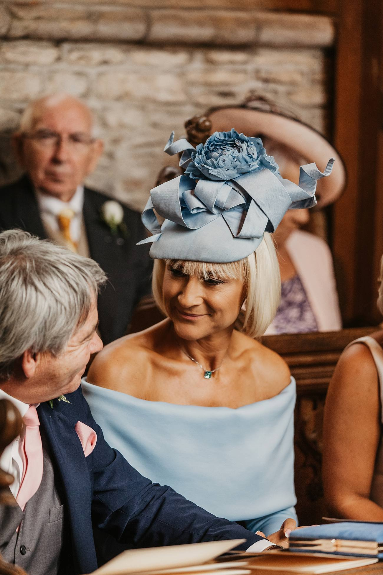 mother of the bride in church wearing sky blue