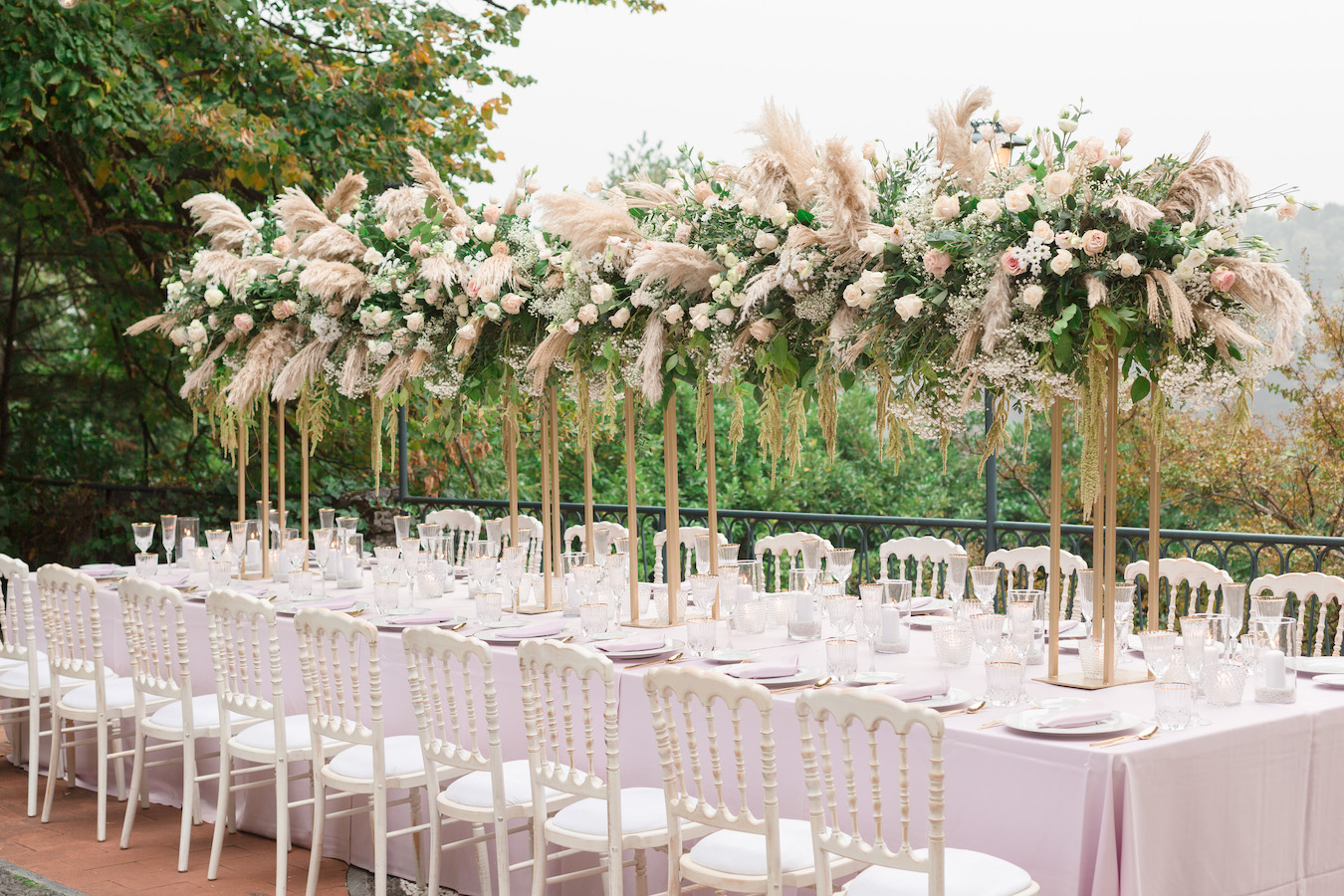 Outdoor Wedding With Pampas Grass